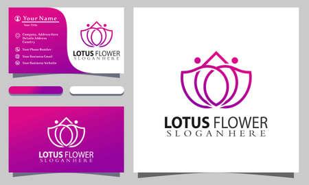Lotus Flower Meditation logo designs vector illustration, business card template Illustration