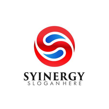 Abstract Colorful Letter S, Yin Yang, Monogram Logo Design Symbol Vector Illustration 矢量图像