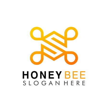 Initial Letter S Hexa Honey Bee colorful logo design vector Illustration