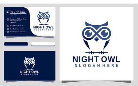 Dark Night Owl logo design vector Illustration, business card template 矢量图像