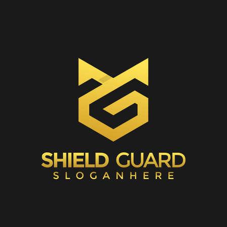 Letter G Shield guard modern abstract stock design vector Illustration