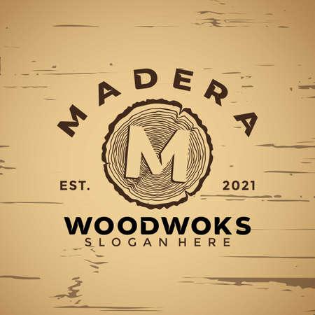 Letter M Wood working Vintage logo design element vector illustration