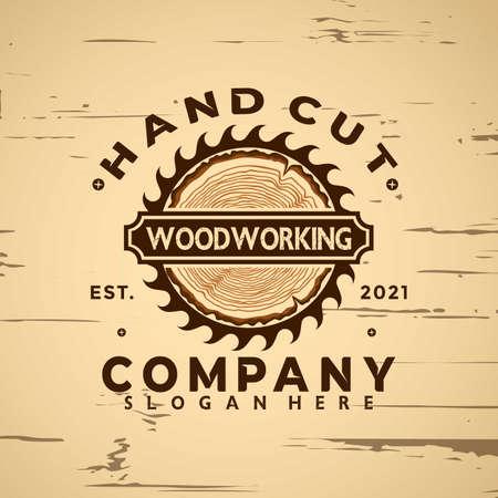Woodworking logo icon design element vector illustration 向量圖像