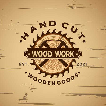 The Best Wood Working Vintage logo design element vector illustration