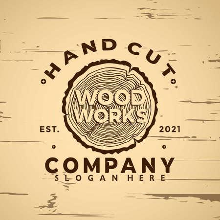 Wood Working Vintage logo icon design element vector illustration