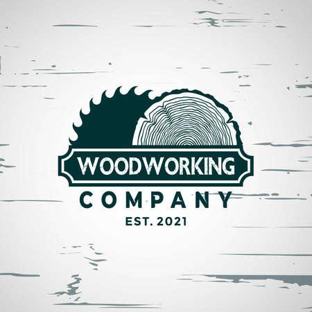 Woodworking gear craft logo Design element stock vector illustration