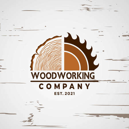 Woodworking logo Design element stock vector illustration