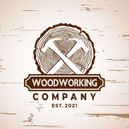 Abstract Woodworking logo Design element stock vector illustration