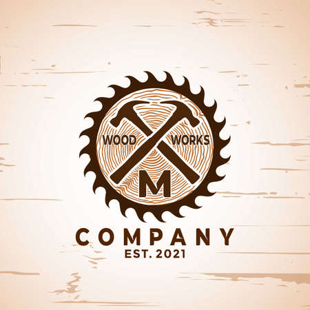 Abstract Woodworking logo Designs vector illustration