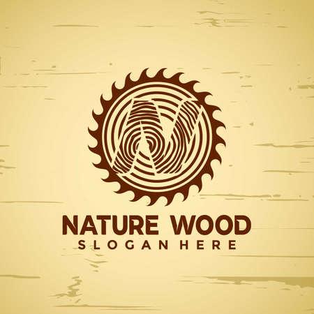 Letter N Nature Wood Working modern logo Designs vector illustration