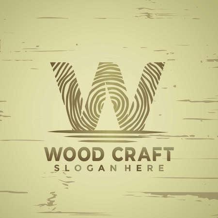 Abstract Letter W Woodcraft modern logo Designs vector illustration