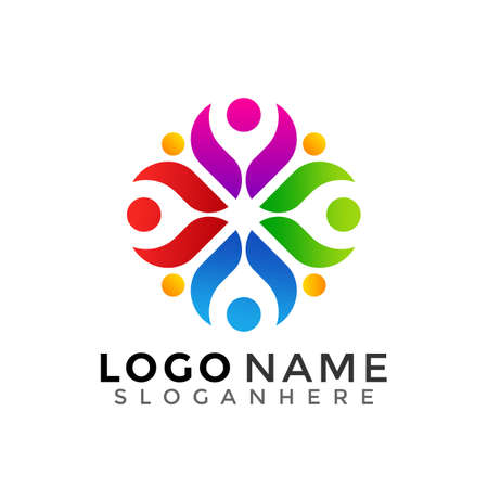 Human unity logo, people group modern colorful logos Designs Vector