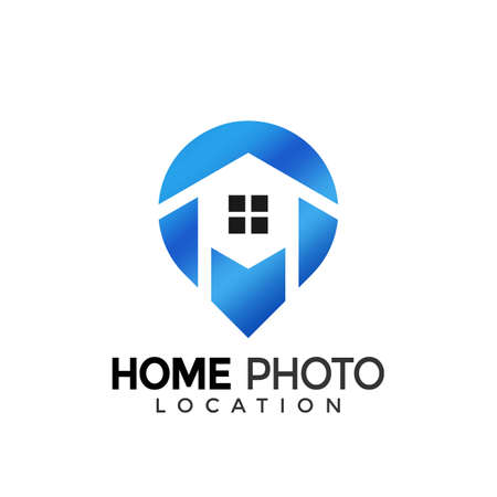 House Photo Location Colorful Modern Logo Icon Design Vector Illustration Иллюстрация