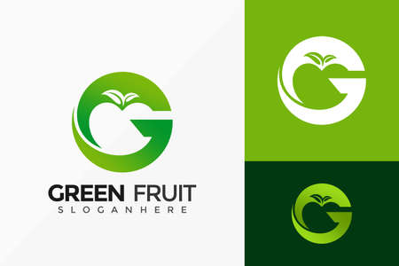 Letter G Green Fruit Logo Design, Brand Identity Logos Designs Vector Illustration Template Logó