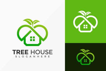 Nature Tree House Logo Design, Minimalist Logos Designs Vector Illustration Template