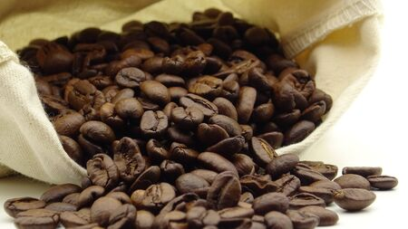 A sack with roasted coffee beans