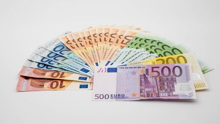 Euros bills of different values. A euro bill of five hundred. Cash money background. Real banknotes hundred. Good earnings. Issuing the salary. Credit percent