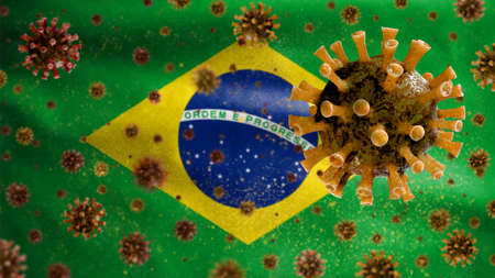 Flu coronavirus floating over Brazilian flag, a pathogen that attacks the respiratory tract. Brazil banner waving with pandemic of Covid19 virus infection concept. Close up of a fabric texture ensign