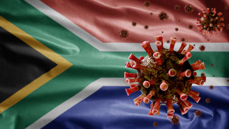 African RSA flag waving with Coronavirus outbreak infecting respiratory system dangerous flu. Influenza type Covid 19 virus with national South Africa banner blowing background. Pandemic risk concept