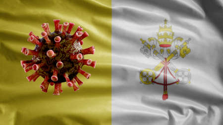 Holy See flag waving and Coronavirus 2019 nCov concept. Asian outbreak in Vatican City, coronaviruses influenza as dangerous flu strain cases as a pandemic. Microscope virus Covid19 close up.