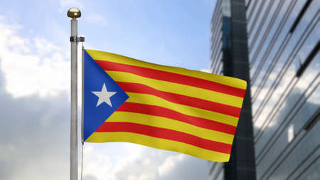 Catalonia independent flag waving in wind at modern city. Catalan estelada banner blowing soft silk. Cloth fabric texture ensign background. Use it for national day and country occasions concept. Foto de archivo