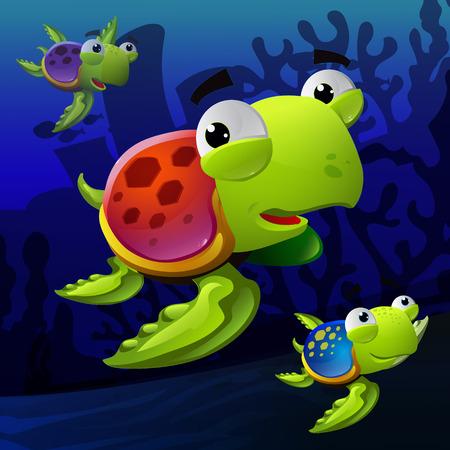 salt water: Colorful Illustration of turtles underwater