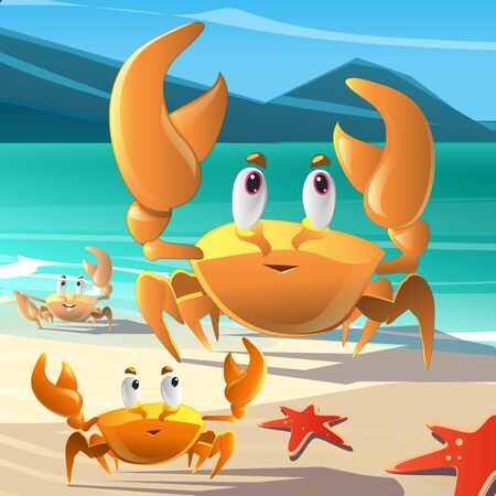 seafoods: Colorful  cartoon illustration of crabs at the seashore Stock Photo