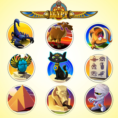cartoon scorpion: Collection of ancient Egypt icons