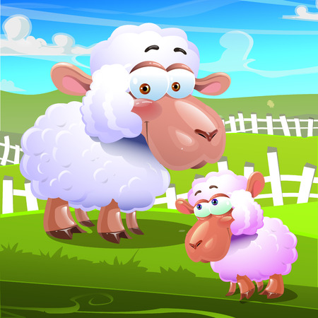 country side: two  cute sheeps in the farm