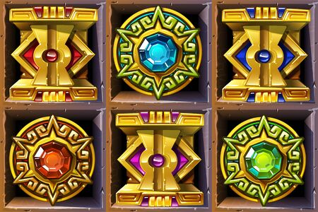 Aztec styled colorful gold icons for game design  イラスト・ベクター素材