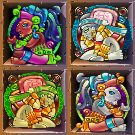 Aztec styled colorful characters for game design