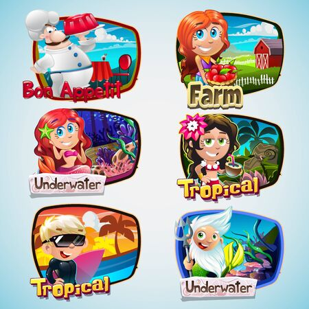 serf: colorful cartoon set with boys and girls
