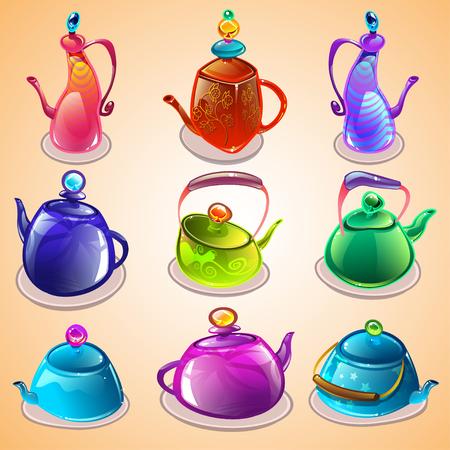 kettles: Conjunto de dibujos animados de teteras