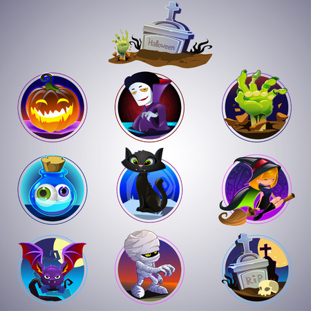 witch face: set of nine cartoon item for halloween