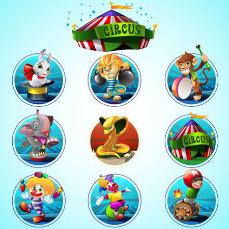 cartoon circus: Colorful circus set with different animals and character