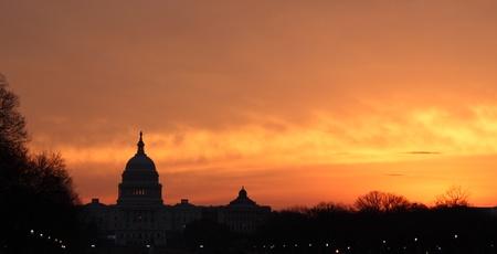 washington dc: Capitol Sunrise Stock Photo