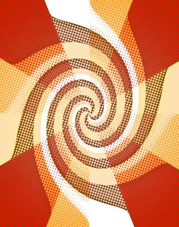 prespective: Dotted Twirl Abstract, MultiColored Background. Retro.