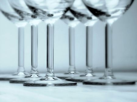 Bases of Glasses. Soft Focus. Blue. Stock Photo