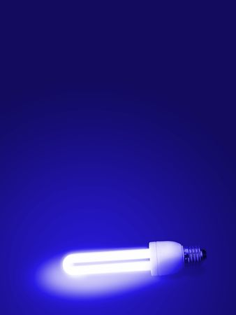 photon: Fluorescent lamp with Blue background.