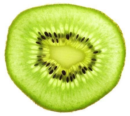 Kiwi-Frucht. Transparente Scheibe.