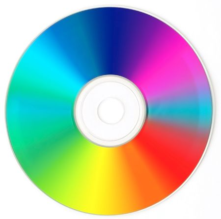 recordable: CD  DVD  - Rainbow Color. Stock Photo