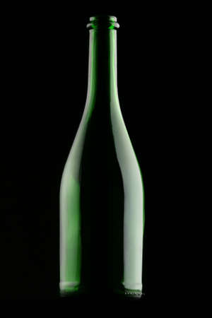 champers: Empty Bottle in the Dark. Stock Photo