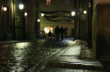 street wise: Wet Cobble. Warsaw in Poland. Old Town.