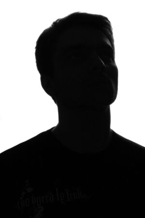 salary man: Silhouette portrait of young Man . Isolated. White background. Stock Photo