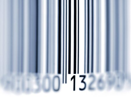 Close up shot of Barcode. Blue toning. Focus on