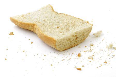 Cut bunbread roll. White background. Stock Photo