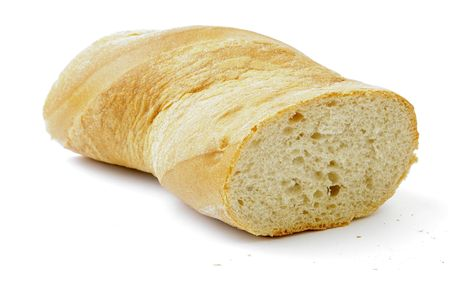 Cut bunbread roll. White background. photo