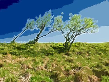 Trees on Horizon. Windy Weather. Stylized Illustration. illustration
