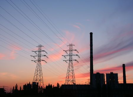Heat and Power plant silhouette at dusk.