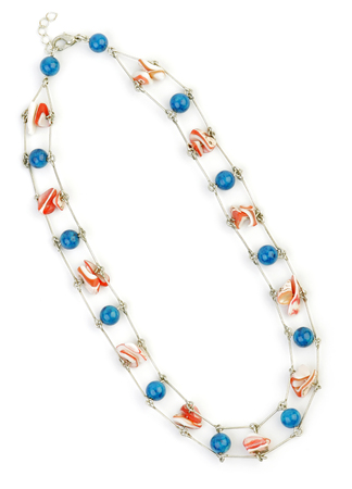 Necklace from a Beads with pieces of sea Shells on a white background. Stock Photo - 1639278